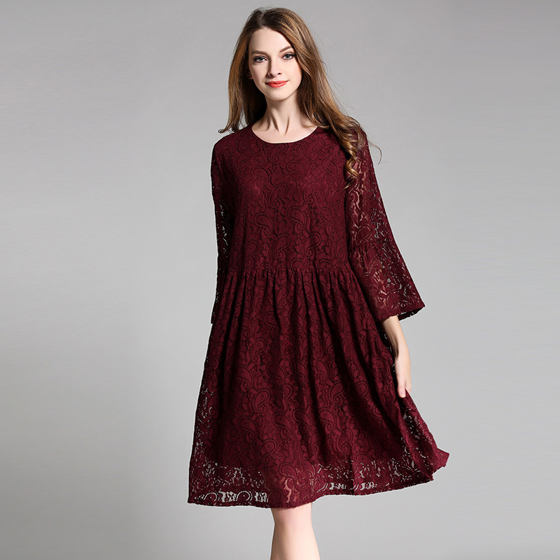 Women Oversize Midi Lace Dress Bell Sleeve Loose Midi Dresses Wine Plus Size L to 4XL