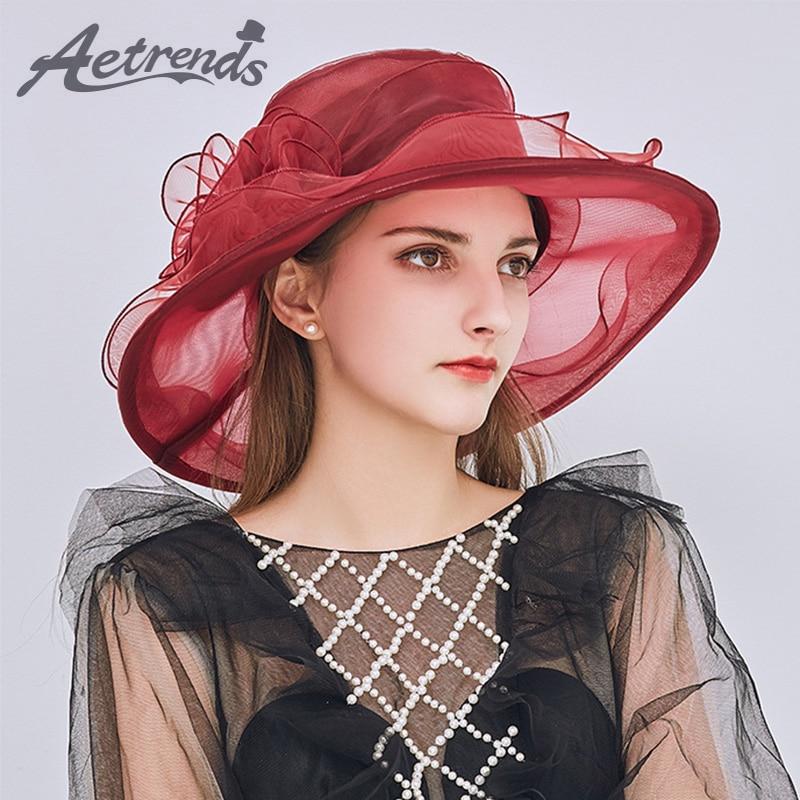 [AETRENDS] 2018 Nieuwe elegante organza zon hoeden voor vrouwen - Kledingaccessoires
