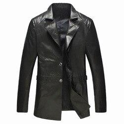 Men s leather jacket and coat genuine sheepskin fashion business casual black leather jacket high quality.jpg 250x250
