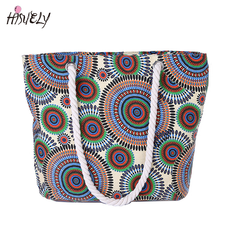 HISUELY Hot Sale Women Handbag Canvas bag Floral Printing Shoulder Beach Bags Casual Female Tote Shopping Bag Big Fashion women s casual tote female shopping bag ladies single shoulder handbag simple beach bag sacoche baobao bags for women on sale