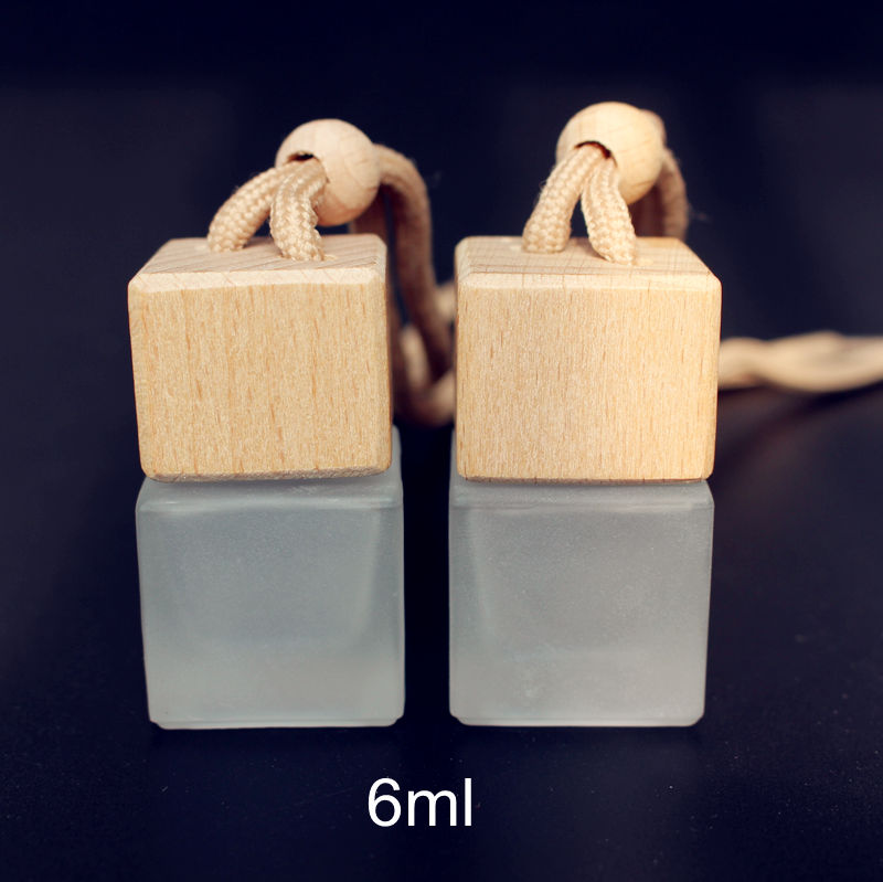 100pcs 6ML Frosted Glass Bottle Car Pendant Parfum Bottle Mini Refillable Perfume Packaging Bottle with Wooden