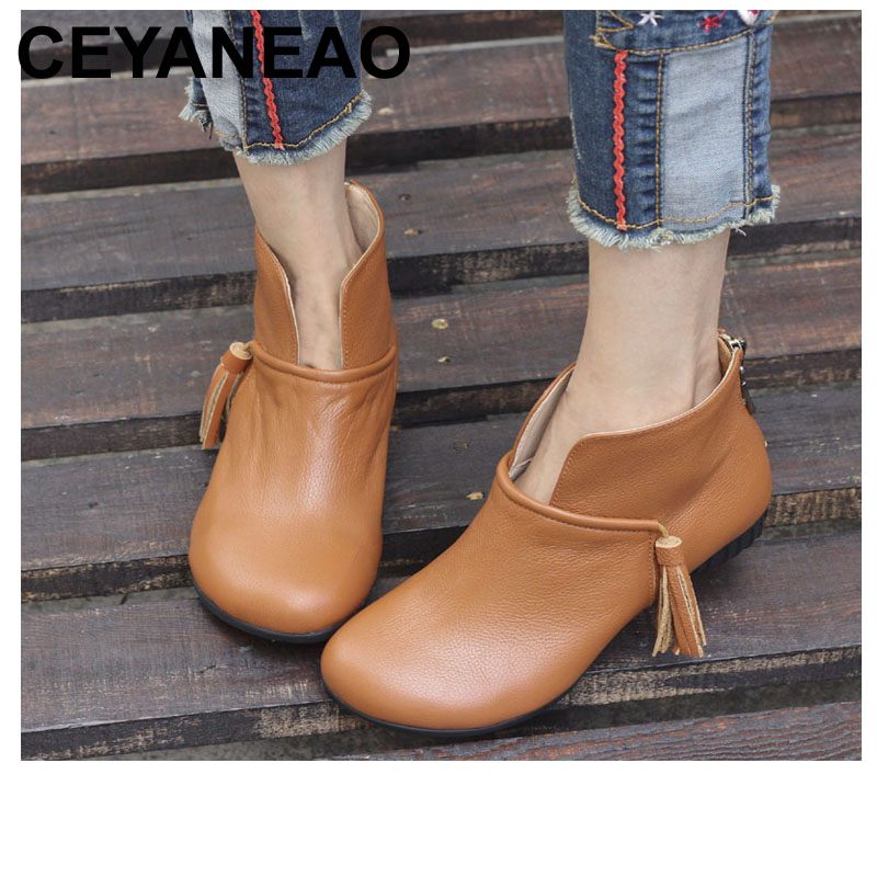 CEYANEAO  Shoes Woman Boots Round Toe Zip Slip on Chelsea Boots Genuine Leather Ladies Ankle Boots Female Fringe Shoes (5815-2)