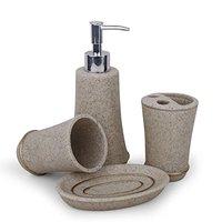 4Pcs Bathroom Accessory Set Toilet Requisites Soap Dish Liquid Dispenser Toothbrush Holder Tumbler Beige Gray