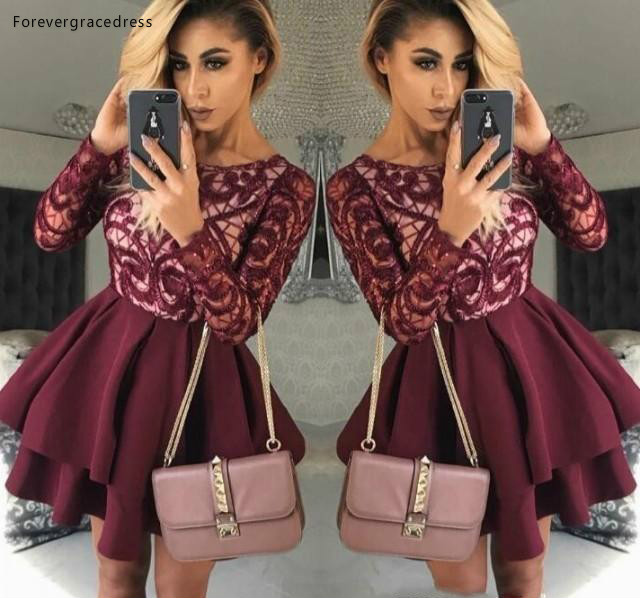 2019 Cheap Short Burgundy Homecoming Dress A Line Long Sleeves Juniors Sweet 15 Graduation Cocktail Party Dress Plus Size