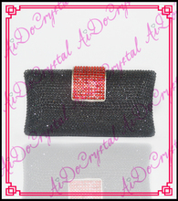 Aidocrystal funky schwarz kristall handtaschen griff kupplung handtasche mit rot schnalle