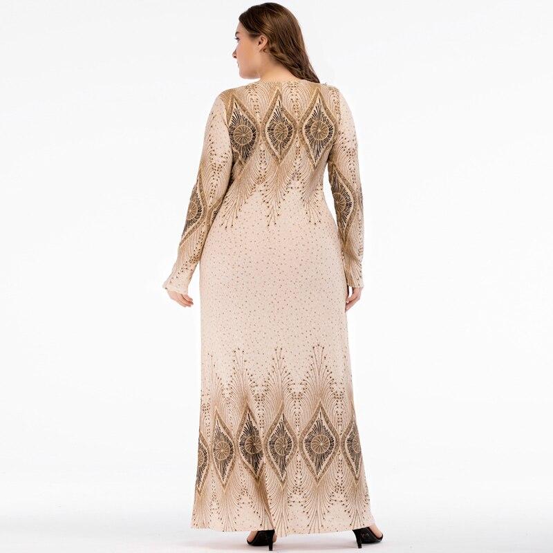 Islamic Women Vintage Abaya Muslim Dress Long Sleeve Printed Turkey Elegant Ladies Robe Maxi Long Party Dresses plus size 4XL 4
