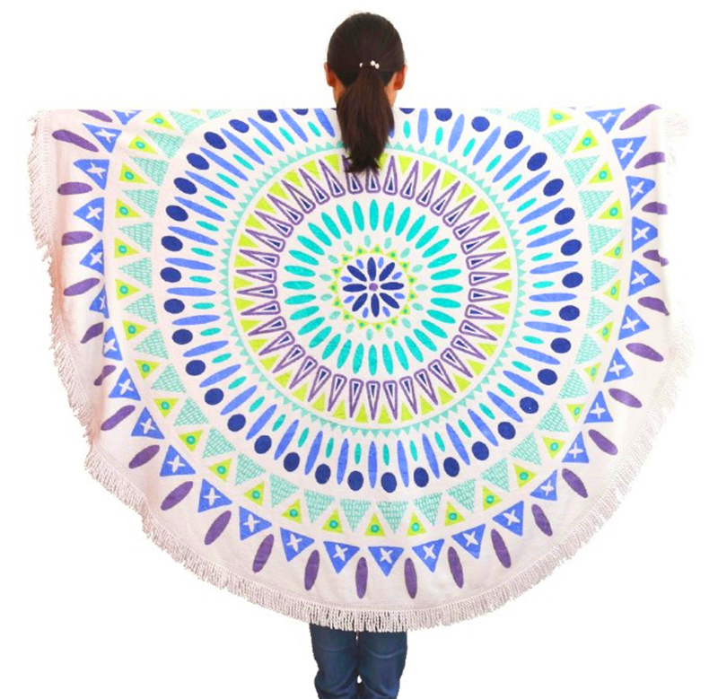 Round Beach Towels Beach Towel round towel bathroom tassel printing Big cotton serviette de plage drap de plage toalha de banho