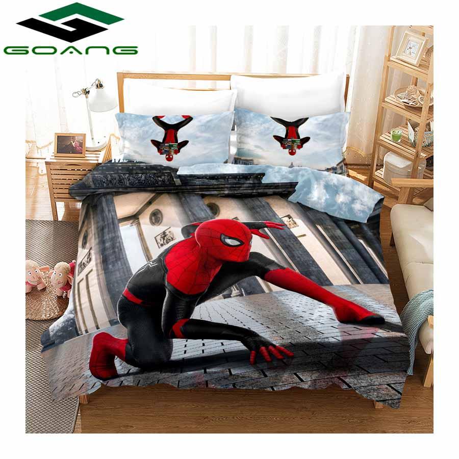 GOANG luxury bedding sets bed sheet duvet cover pillow case 3d digital printing cartoon Spider Man