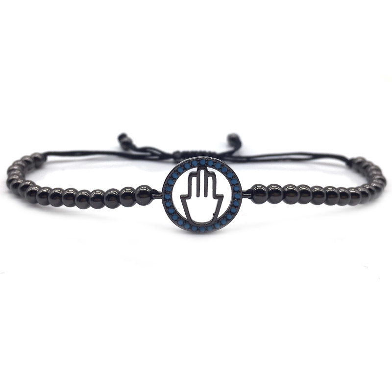 NAIQUBE 2018 Classic Luxury Trendy Men Bangle Handmade Charm Hand Shape Copper Bead Strand Bracelet For Men Women Jewelry Gift