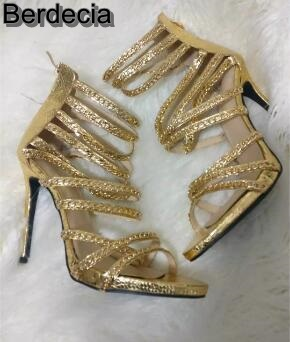 ФОТО Big Size 11 Gold Chain Embellished Cage Shoes High Heel Cut-out Gladiator Strappy Sandals For Women Sexy Dress Shoes Real Photo