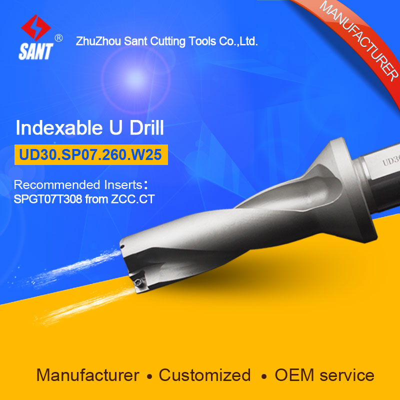 Double helix internal cooling holes 3 L/D 26mm U drill UD30.SP07.260.W25/ZTD03 with inserts ZCC SPGT07 or Taegutec SPMG07 double helix internal cooling holes 3 l d 17mm u drill ud30 sp06 170 w25 ztd03 with inserts zcc spgt06 or taegutec spmg06