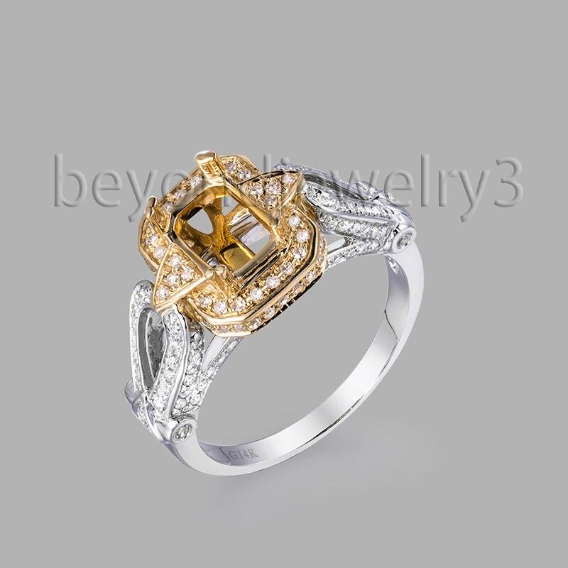 New Vintage Emerald Cut 6X8mm Multi-Tone 14k Tow Tone Gold Engagement Ring, Diamond Semi Mount Ring Settings For Sale</fon