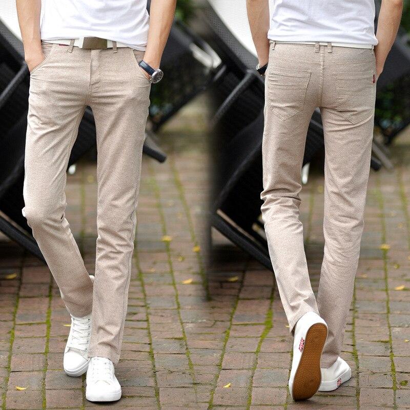Uwback 2018 Marque Lin Pantalon Hommes D'été Mince Solide À Long Pantalon Mâle Confortable Mince Mode Pantalone Hombre Plus Taille XA657
