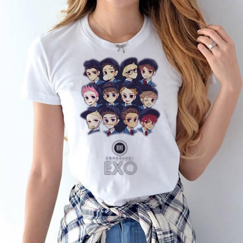 Cute EXO female t-shirt Korean music band 2017 Fashion Print Women's T-Shirt Women Funny Plus Size tshirt For Female