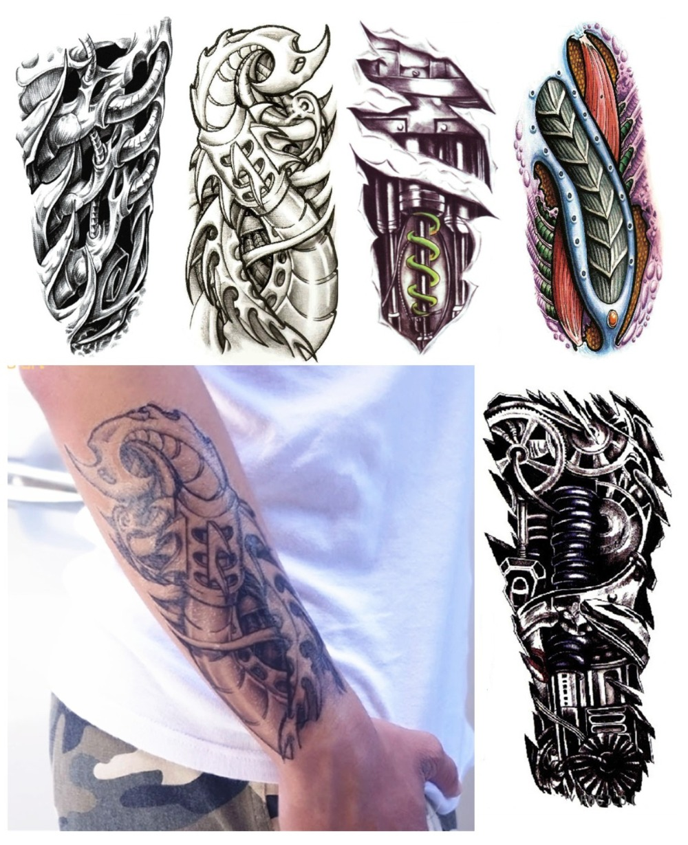 Buy 8pcs lot robot arm fake tattoos for Temporary arm tattoos