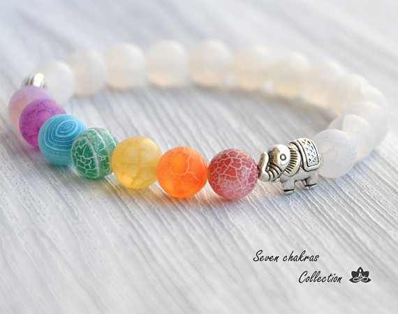 Elephant seven color Yoga energy Bracelet string lotus flower weathered seven bracelets for women and men 8MM