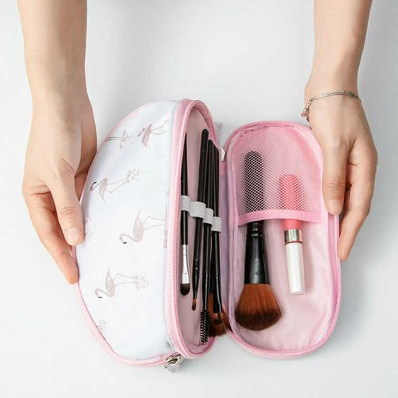SHUJIN 2019 Tragbare Flamingo Kosmetik Tasche Double Layer Reise Make-Up Tasche Taschen Rund Frau Machen Up Tasche Pinsel Veranstalter