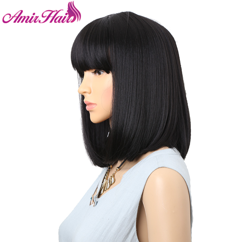 Amir Straight Black Synthetic Wigs With Bangs For Black Women Medium Length Hair Bob Wig Heat Resistant None Lace Hairstyle