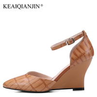 KEAIQIANJIN Woman Wedges Sandals Sexy Yellow Brown Cow Leather High Heels Shoes Plus Size 34 43