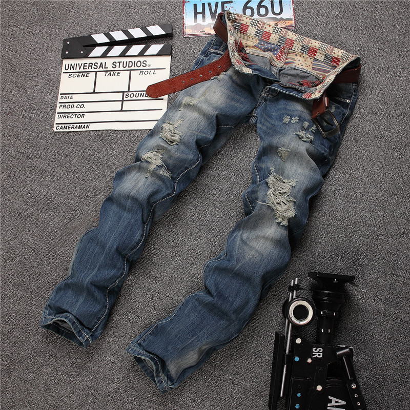 New High quality men's full length jean hole Casual ripped meth jeans hiphop Straight jeans denim pants trousers pant for men