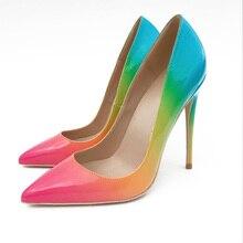 2019 Fashion free shipping Women Rainbow Patent Leather Poined Toe Stiletto high heel shoe pump HIGH-HEELED SHOE Wedding shoes