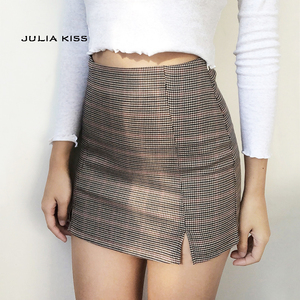 Women Checked Mini Skirt with Two Small Front Slits(China)