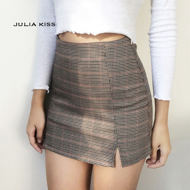 7a5fd575877a Women Checked Mini Skirt with Two Small Front Slits-in Skirts from ...