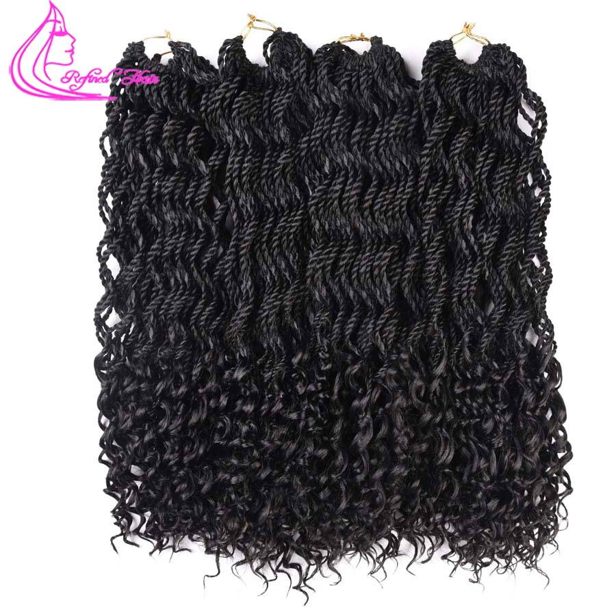 Refined Hair 18Inch Curly End Curly Senegalese Twist Crochet Braids 30Roots High Temperature Wavy Crochet Braiding Hair Weave