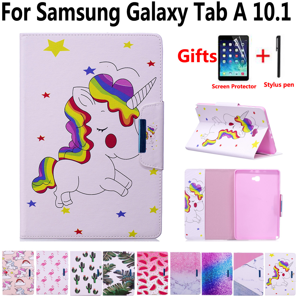 Tablet Cover Case for Samsung Galaxy Tab A6 A 10.1 2016 P580 P585 Smart Case with Screen Protector Film for Samsung Tab A 10.1