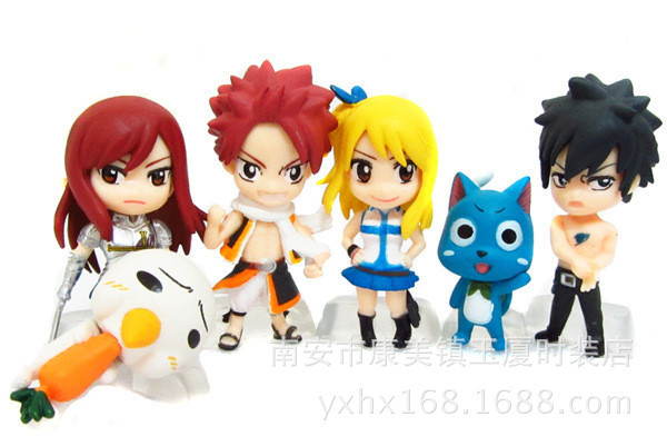 2015 NEW Hot 6pcs/set 3-6cm Q version FAIRY TAIL Action Figure toys
