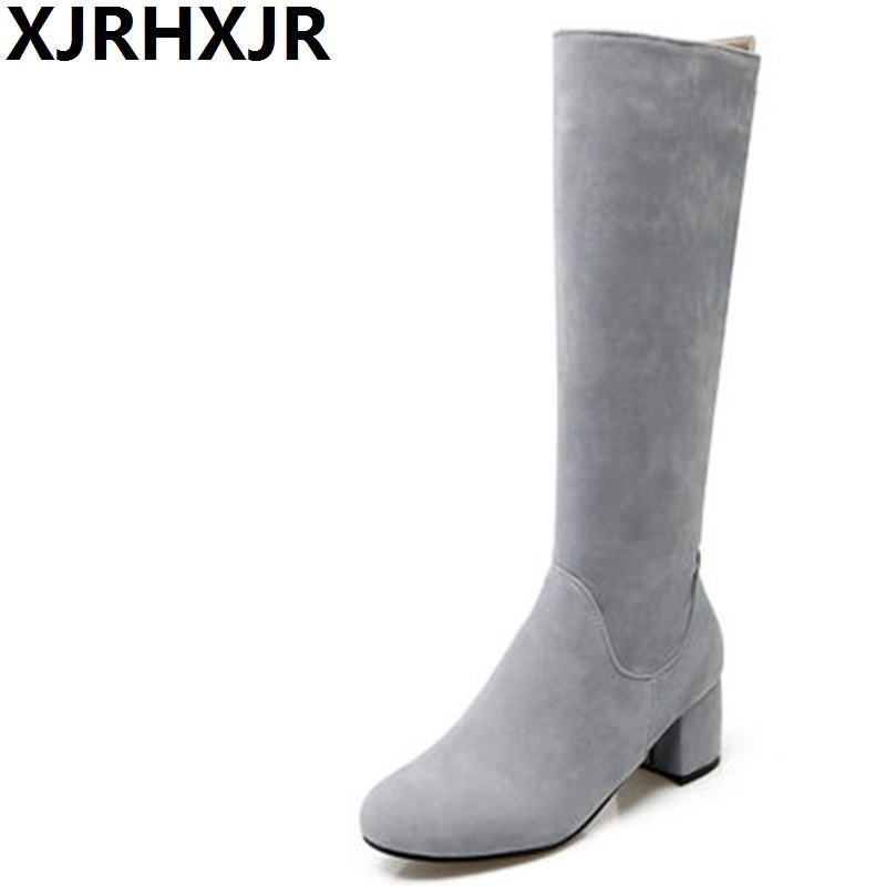 XJRHXJR Sexy Knee High Boots Fashion Zip Shoes Woman Winter Warm Plush Riding Boots Female Suede Leather Boots Large Size 32-43 scoyco motorcycle riding knee protector extreme sports knee pads bycle cycling bike racing tactal skate protective ear