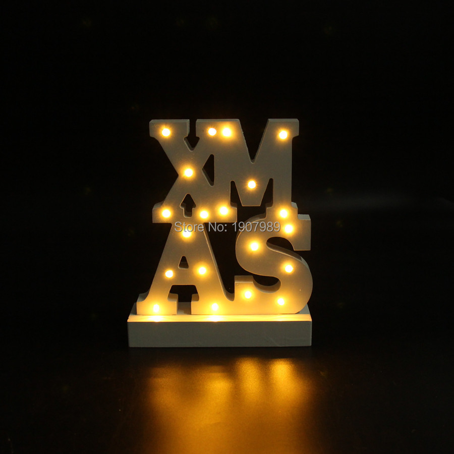 White wooden XMAS LED Marquee Sign LIGHT UP night light merry christmas light Indoor table Deration free shipping
