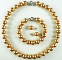 Natural Pearl Jewelry New AAA 12mm Champagne Luxurious Shell Pearl Bracelet Earring Necklace Set Bridal Silver