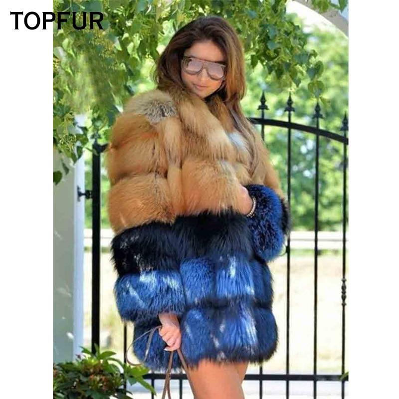 Qualité Hiver De Manteaux Les Chaud Long Femmes Nouveau Pour 2018 D'or Épais Véritable Fourrure Réel Renard Or Topfur Haute Manteau Outwear X7OnYnz