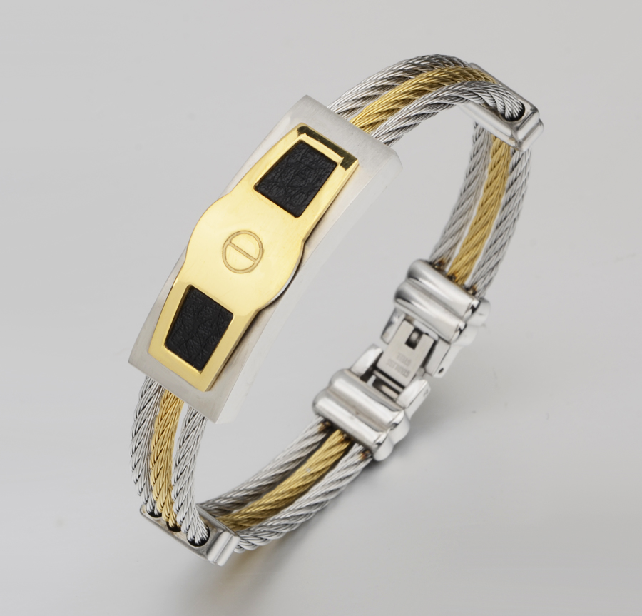 10pcs lot stainless steel wire cable with leather men bracelets bangles New Fashion Jewelry