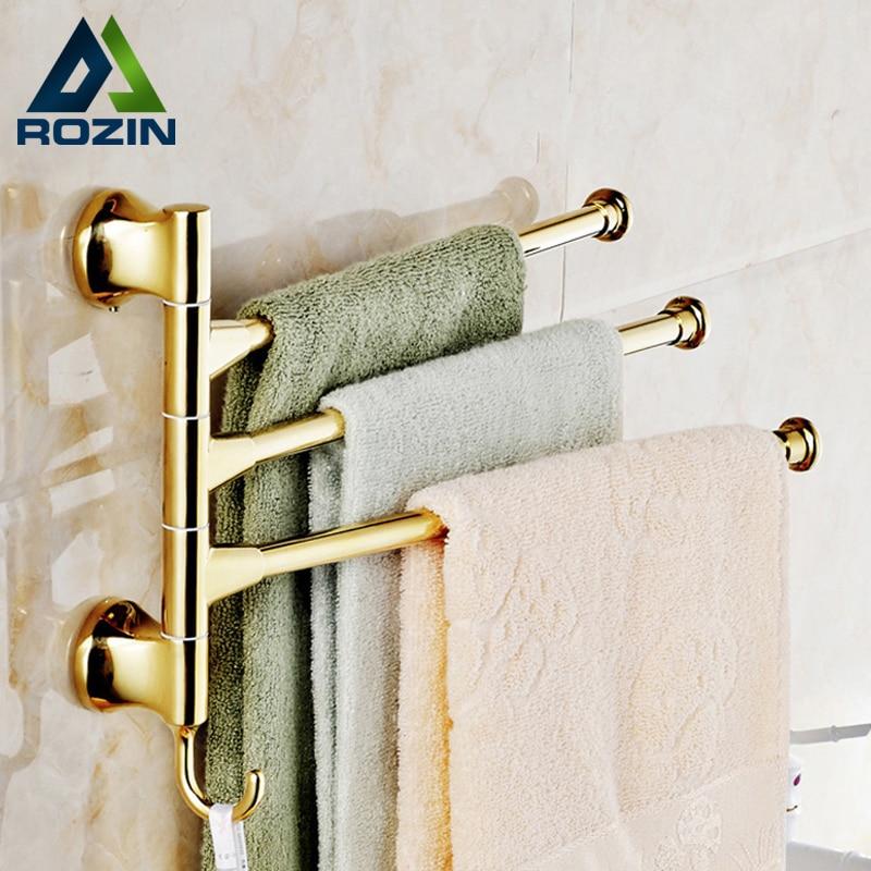 ФОТО Free Shipping Rotation 3 Rod Towel Rack Gold-plate Wall Mounted Bathroom Towel Bar Three Bar Towel Shelf