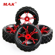4Pcs/Set 1/10 Scale Rally Tires&Wheel Rim with 6mm Offset and 12mm Hex fit HSP HPI RC 1:10 Off Road Car Accessories