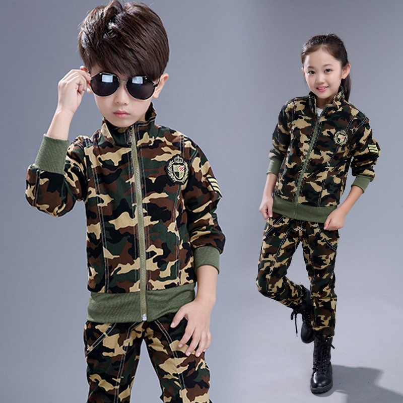 2018 Kids Camouflage Set Baby Boys Girls Spring Clothes Top+pants Suit Children Clothing Vetement Enfant Fille Garcon Tracksuit fashion autumn girl coat pants set children clothing casual sets toddler vetement fille kids clothes tracksuit baby suit girls