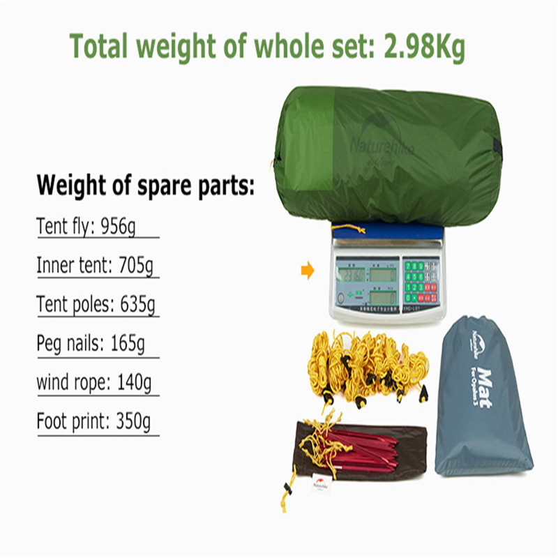 Image 2 - Naturehike 2019 New Ultralight Opalus Tunnel Double Tent Outdoor Camping Hiking 3 Persons Tent NH17L001 L-in Tents from Sports & Entertainment