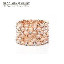 Neoglory rhinestone austríaco opal oro grandes plateados brazaletes y pulseras para las mujeres de joyería de moda 2017 nueva marca