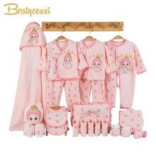 الوليد ملابس الطفل لينة القطن طفل رضيع فتاة الملابس مجموعة الكرتون الرضع الملابس المولود الجديد طقم هدايا 3 ألوان