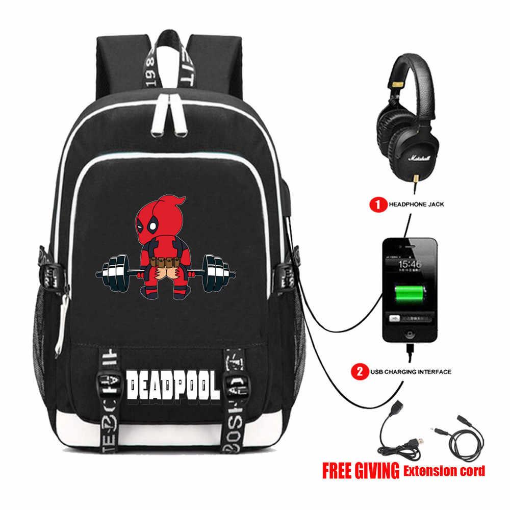 c6752cb474c8 Multifunction USB charging travel backpack Superheros Deadpool Backpack  teenagers Men women s Student School Bags 13 style