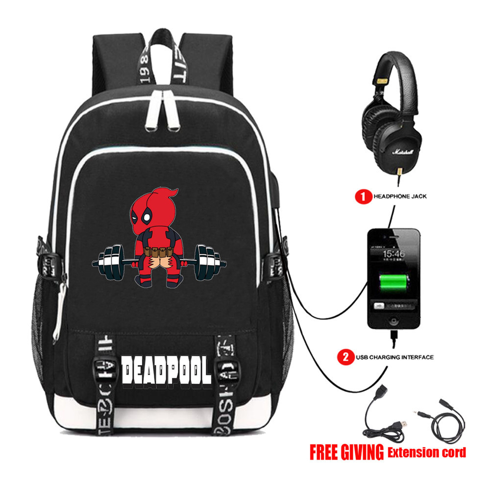 Multifunction USB charging travel backpack Superheros Deadpool Backpack teenagers Men women's Student School Bags 13 style new design usb charging men s backpacks male business travel women teenagers student school bags simple notebook laptop backpack