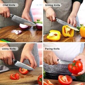 Image 2 - Sunnecko 7 pçs faca de cozinha conjunto chef pão santoku utilitário aparas facas 73 layer damasco vg10 aço afiada balde ferramentas de corte