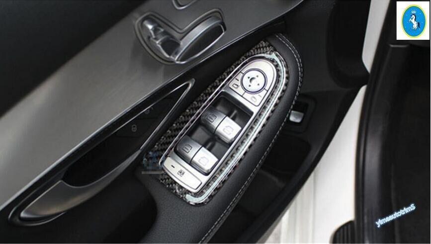 Carbon Fiber ! Interior For Mercedes Benz C Class W205 GLC X205 2014 2015 2016 Door Armrest Window Lift Button Panel Cover Trim 11pc x canbus no error led interior dome light lamp kit package for mercedes benz glc class x253 glc250 glc300 glc350 2015