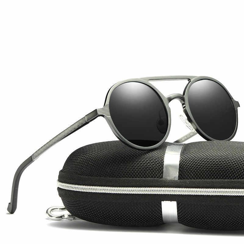 Design da marca Óculos De Sol Dos Homens Polarizados Do Vintage Moldura Redonda óculos de Sol Óculos de Alumínio Em Liga de Magnésio Óculos de Condução Motorista Espelhos
