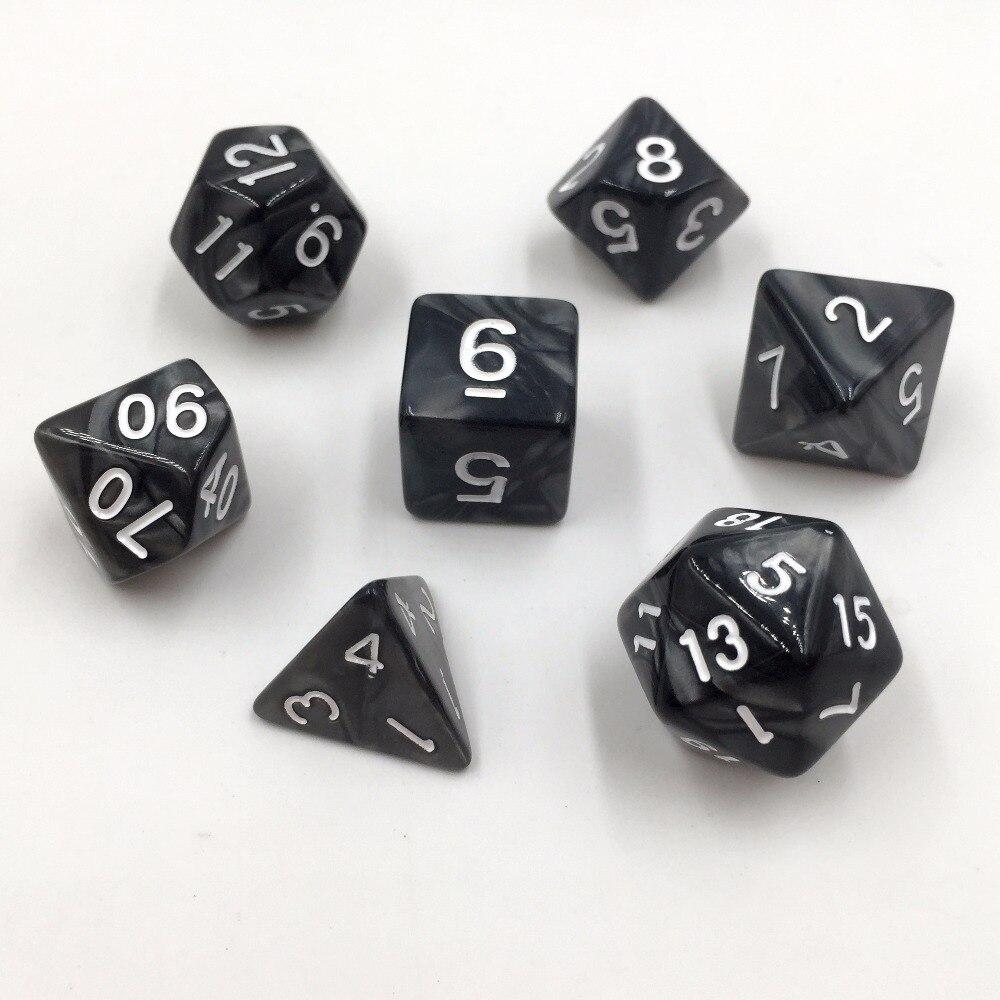 Black Marbled 7-Dice Set D4 D6 D8 D10 D00 D12 D20
