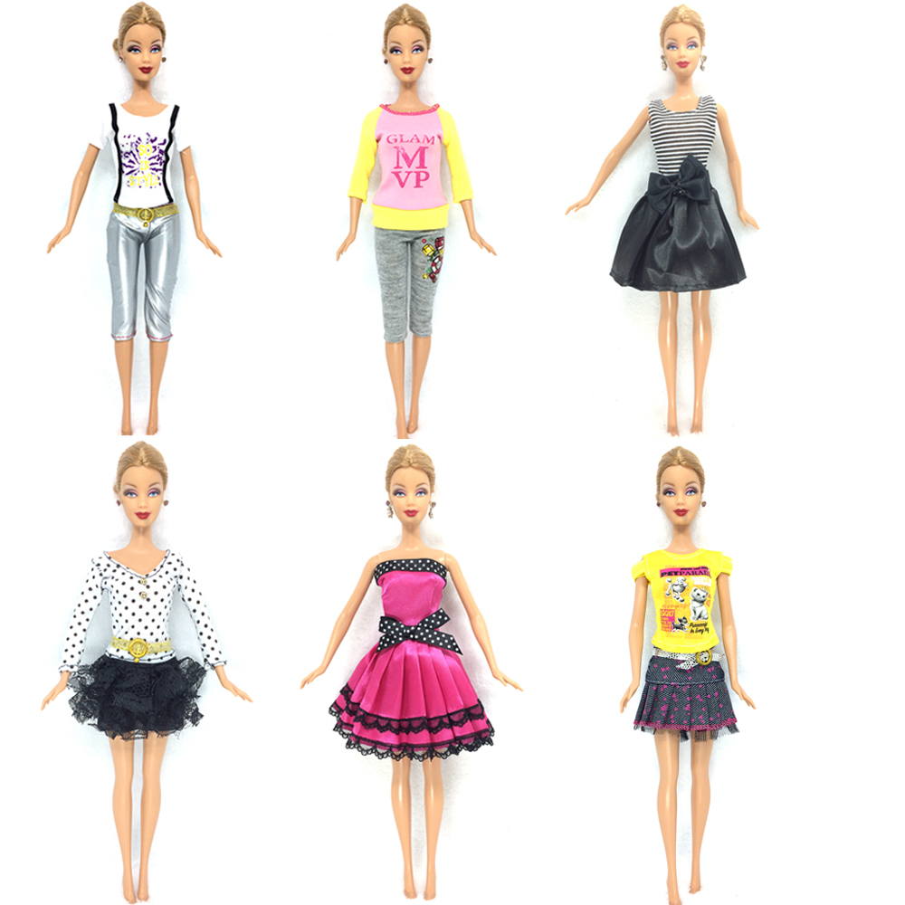 NK 6 Set/Lot  Lovely Outfit Attractive Gown Informal Skirt Occasion Robe Garments For Barbie Doll Child Toys Greatest Women' Presents Little one Toys