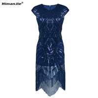 Himanjie Women Party Dress Robe Femme 1920s Gatsby Flapper Sequin Fringe Embroidery Midi Summer Retro Black