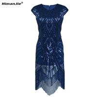 Himanjie Women Party Dress Robe Femme 1920s Gatsby Flapper Sequin Fringe Embroidery Midi Summer Retro Black Dress 2017 Vestidos